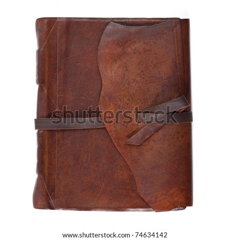 Leather diary book on white background. - stock photo