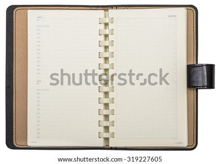 Leather diary with isolated on white background