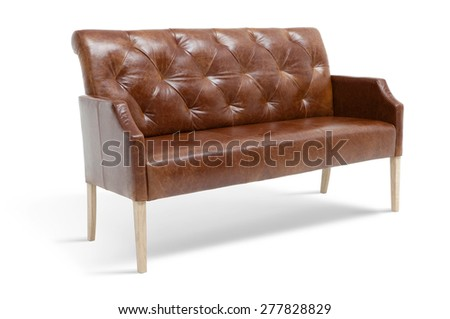 Leather dining bench with armrests - stock photo