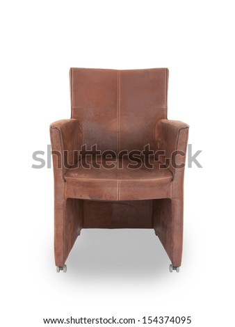 Leather dining room chair isolated on white