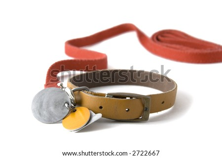 Leather dog colar with registration tags and red leash attached. Isolated on white background - stock photo