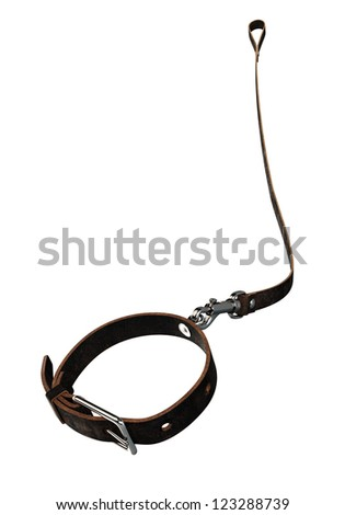 Leather Dog Collar and Lead. Clipping paths - stock photo