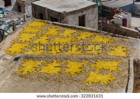 leather drying on the roofs of fes - stock photo