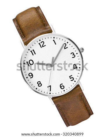 leather expensive and modern watch isolated - stock photo