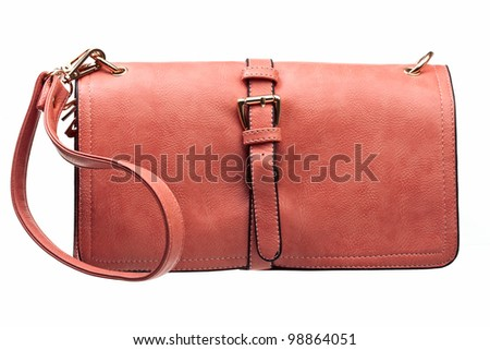 Leather female clutch isolated over white - stock photo