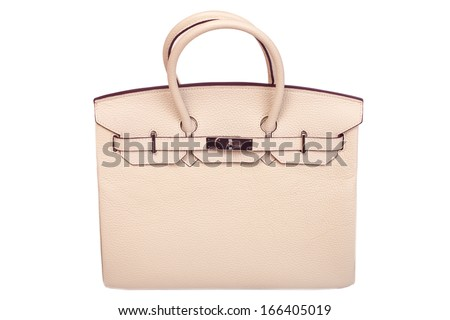 Leather female handbag, accessory on a white background without people. - stock photo