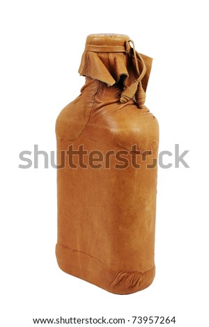 Leather flask, it is isolated on white - stock photo