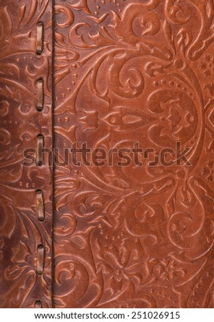 Leather floral pattern background  - stock photo