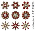 Leather Flower Embellishment Set - stock photo