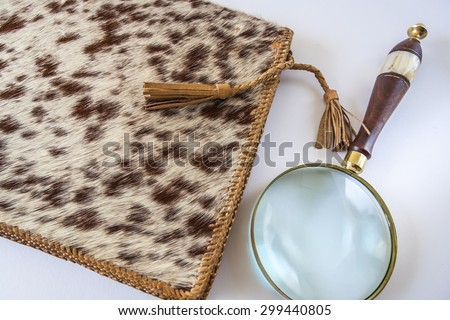 Leather Folder And Magnifying Glass On White Background - stock photo