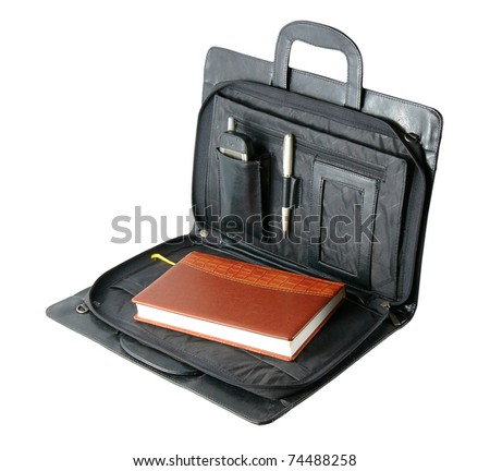 leather folder for papers isolated on a white background - stock photo