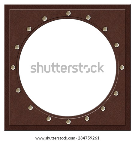 Leather frame with metallic elements.