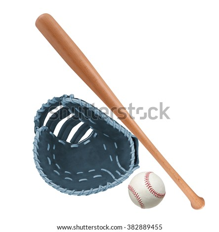 Leather glove with baseball and bat isolated - stock photo