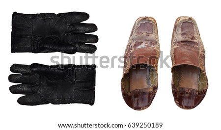 Leather gloves and shoes used