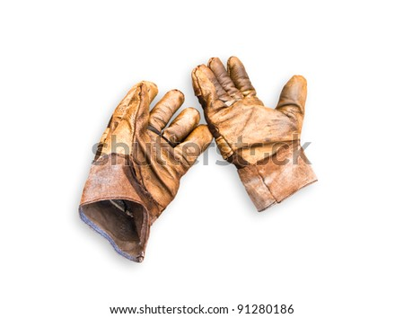 Leather gloves isolated on a white background. - stock photo