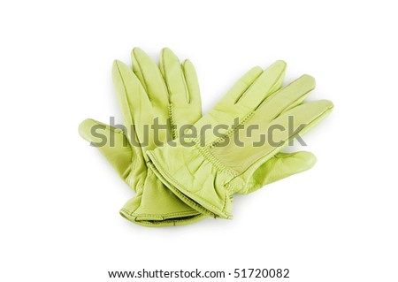 Leather gloves isolated on the white background