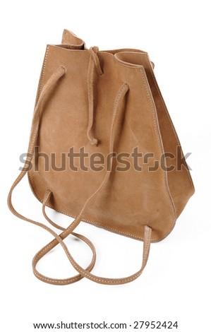 leather handbag backpack on white background - stock photo