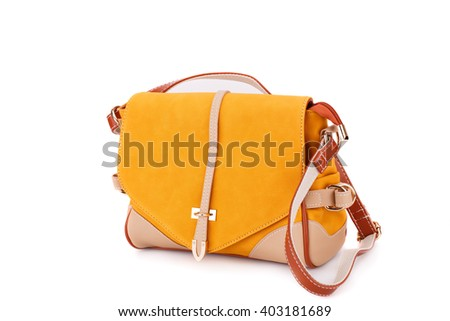 Leather handbag  isolated on white background. - stock photo