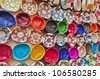 Leather handicrafts on the souk of Fez, Morocco - stock photo