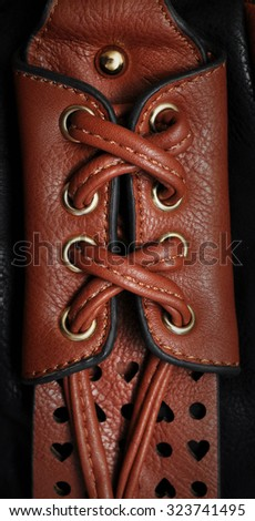 Leather Handmade Stitch (Brown Tan). Stitching. Rustic Style. Vertical. - stock photo