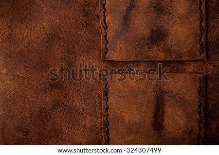 Leather Handmade Stitch Detail, Belt Bag Design Pattern (Brown). Handcrafted Leather, Hand Sewing and Stitching. Rustic Style. Close up. - stock photo