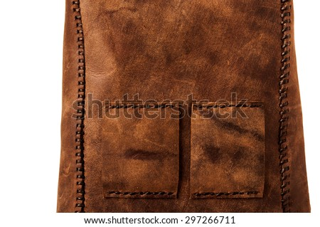 Leather Handmade Stitch Detail, Belt Bag Design Pattern (Brown Tan). Handcrafted Leather, Hand Sewing and Stitching. Rustic Style. Isolated on White Background. - stock photo