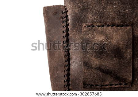 Leather Handmade Stitch Detail, Belt Bag Design Pattern (Dark Brown). Handcrafted Leather, Hand Sewing and Stitching. Rustic Style. Isolated on White Background. - stock photo