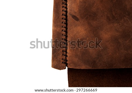 Leather Handmade Stitch, Shoulder Bag (Brown Tan). Design Handcrafted Leather, Hand Sewing and Stitching. Rustic Style. Isolated on White Background. - stock photo