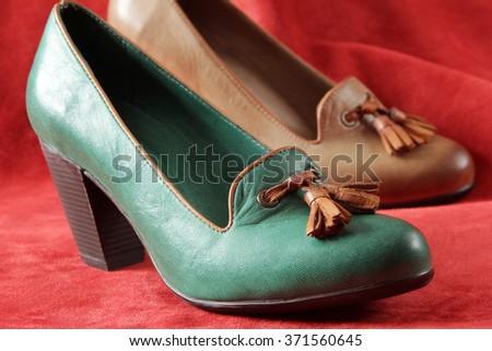 leather high heel shoe - stock photo