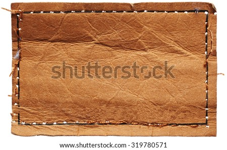 Leather jeans label isolated on white background - stock photo