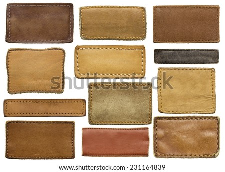Leather jeans labels, leather tags. - stock photo