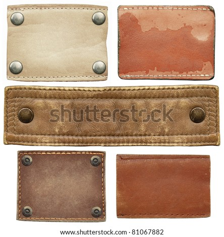 Leather jeans labels set - stock photo