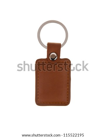 Leather key chain isolated on white background - stock photo