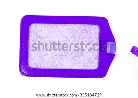 Leather luggage tags labels on white background