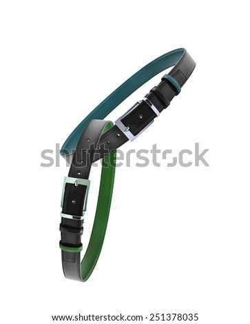 leather male belts isolated - stock photo