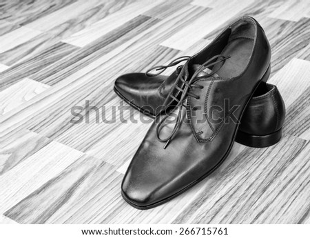 Leather men's shoes - stock photo