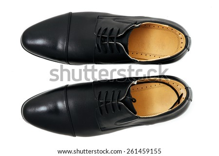 leather men's shoes on white background.