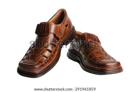 Leather men's summer shoes isolated on white - stock photo