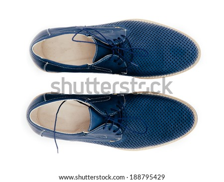 leather men shoes against white background. man's shoes isolated on white background.  man's fashion - stock photo