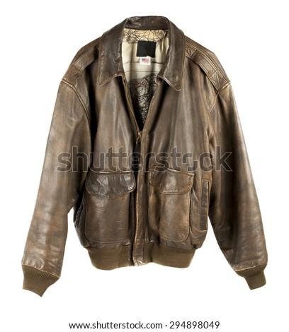 Leather Military flight Jacket zipped up isolated on white - stock photo