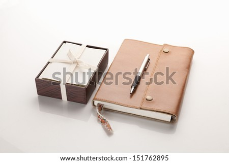 leather note book and note cards - stock photo