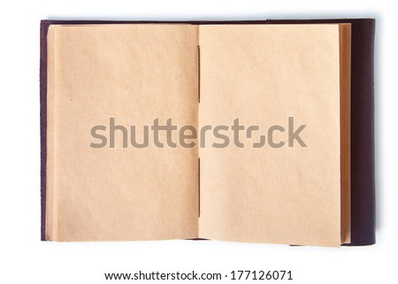 Leather note book with clipping path.