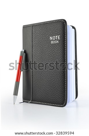 Leather notebook and pen in the  White background - stock photo
