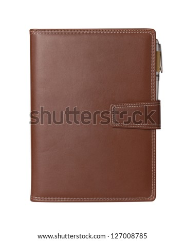 Leather notebook and pencil on white background. - stock photo