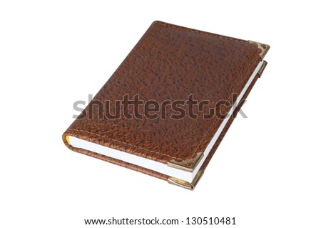 leather notebook on a white background