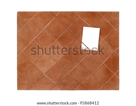 leather notice board isolated on white background