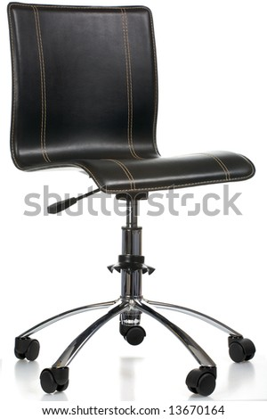 Leather office armchair on wheels isolated on a white background - stock photo