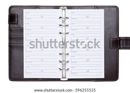 leather office organizer isolated on white background - stock photo