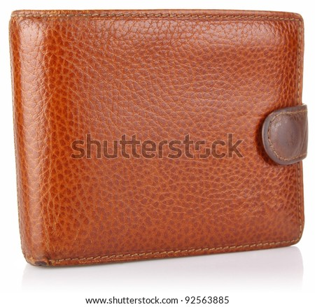 leather old purse isolated on white background - stock photo