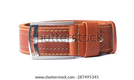 Leather orange strap - stock photo